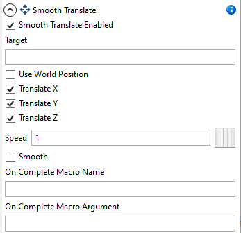 image showing the properties available for the Smooth Translate entity