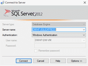 Connecting to Microsoft SQL Server 2012.