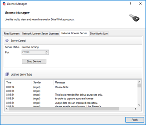 License Manager Tool on the Network License Server tab.