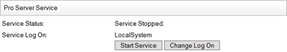 Pro Service Service Start Service and Change Log On buttons
